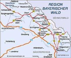 Karte Bayersicher Wald
